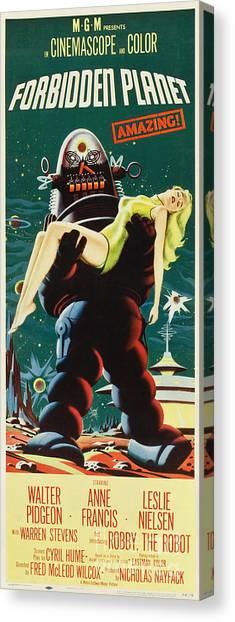 Forbidden Planet Canvas Print - Forbidden Planet In Cinemascope Retro Classic Movie Poster Portraite by R Muirhead Art