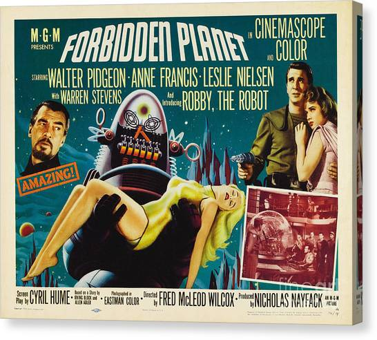 Forbidden Planet In Cinemascope Retro Classic Movie Poster Canvas Print