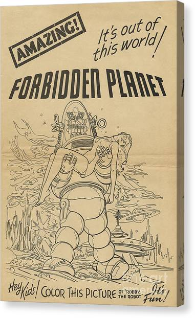 Forbidden Planet Canvas Print - Forbidden Planet In Color This Picture Retro Classic Movie Poster Portraite by R Muirhead Art
