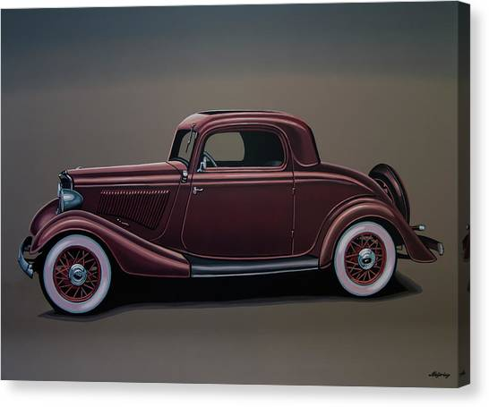 Ponies Canvas Print - Ford 3 Window Coupe 1933 Painting by Paul Meijering