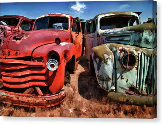 Ford And Chevy Standoff Canvas Print