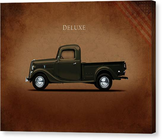 Ford Truck Canvas Print - Ford Deluxe Pickup 1937 by Mark Rogan