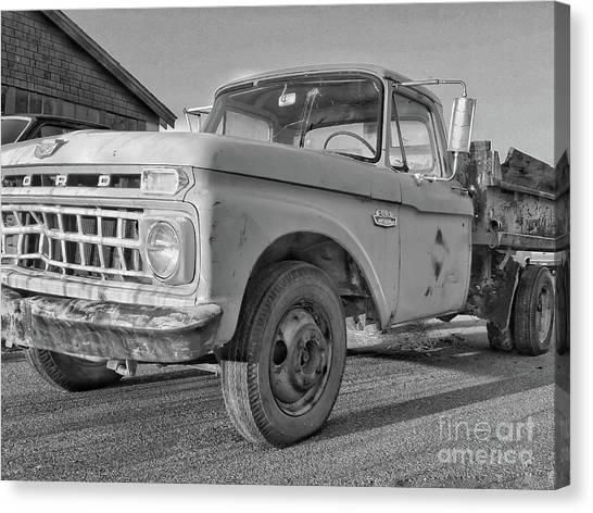 Ford F-150 Dump Truck Bw Canvas Print