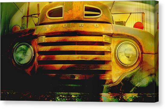 Canvas Print featuring the photograph Ford Grill by Dutch Bieber