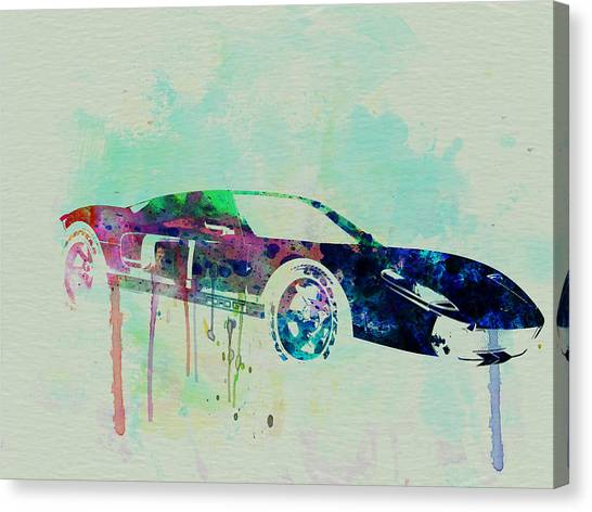 Muscles Canvas Print - Ford Gt Watercolor 2 by Naxart Studio