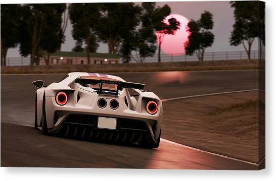 Nostalgia Drag Racing Canvas Print Ford Gt Willow Springs  By Andrea Mazzocchetti