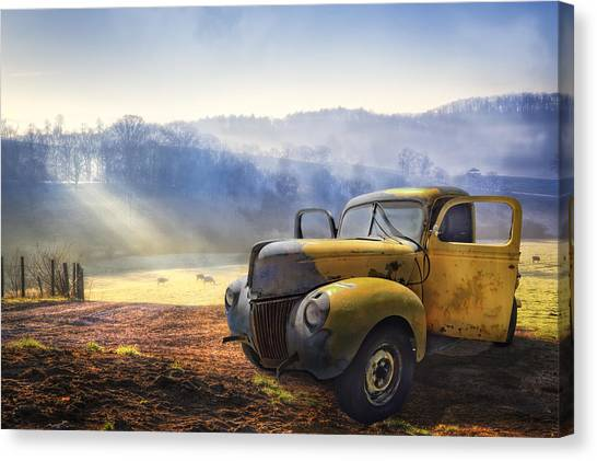 Ford Truck Canvas Print - Ford In The Fog by Debra and Dave Vanderlaan