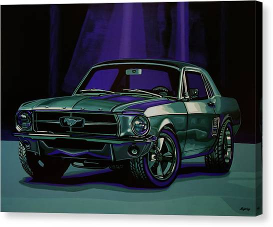 Automobiles Canvas Print - Ford Mustang 1967 Painting by Paul Meijering