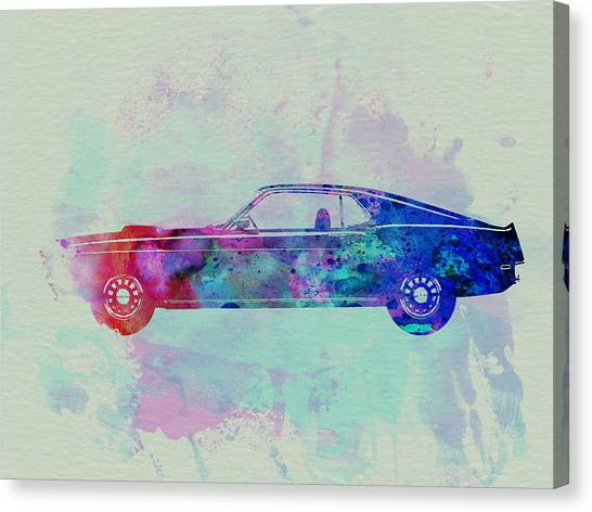 Ford Canvas Print - Ford Mustang Watercolor 1 by Naxart Studio