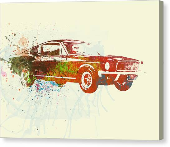 Watercolor Canvas Print - Ford Mustang Watercolor by Naxart Studio
