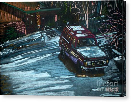 Ford Range In The Snow Canvas Print by Donald Maier