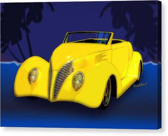 Ford Roadster 1937 In The Palms Canvas Print