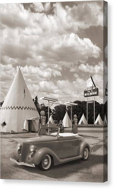 Street Rods Canvas Print - Ford Roadster At An Indian Gas Station Sepia by Mike McGlothlen