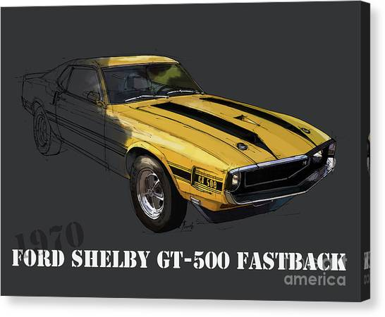 Arte Canvas Print - Ford Shelby Gt500 Fastback, Yellow And Black Original Art Print by Drawspots Illustrations