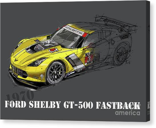 Arte Canvas Print - Ford Shelby Gt500 Fastback, Yellow And Black Sketch by Drawspots Illustrations