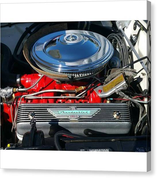 Mercury Canvas Print - Ford Thunderbird Engine #ford #dodge by Paul Wesson