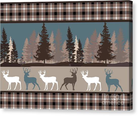 Log Cabin Canvas Print - Forest Deer Lodge Plaid II by Mindy Sommers
