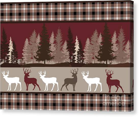 Log Cabin Canvas Print - Forest Deer Lodge Plaid by Mindy Sommers