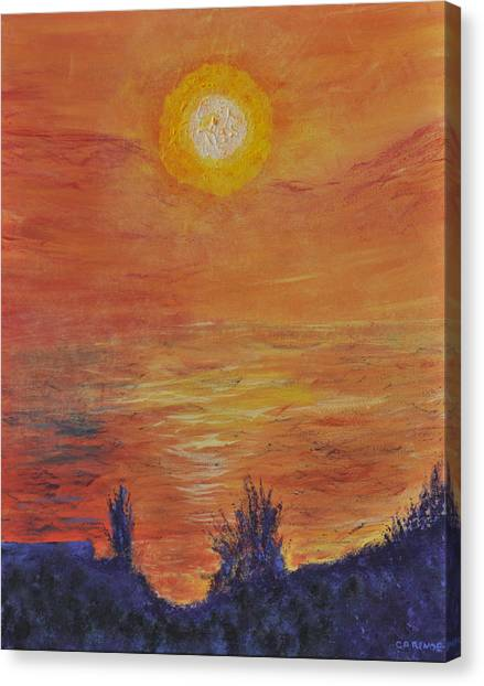 Forest Fire At Night  Canvas Print by Cathy Renoe