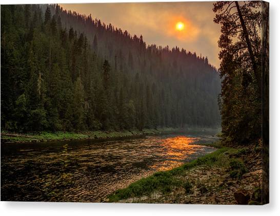 Forest Fire Sunset Canvas Print