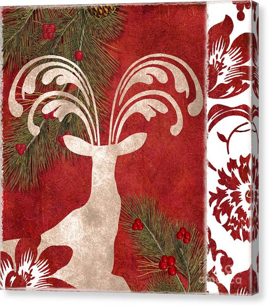 Wild Berries Canvas Print - Forest Holiday Christmas Deer by Mindy Sommers