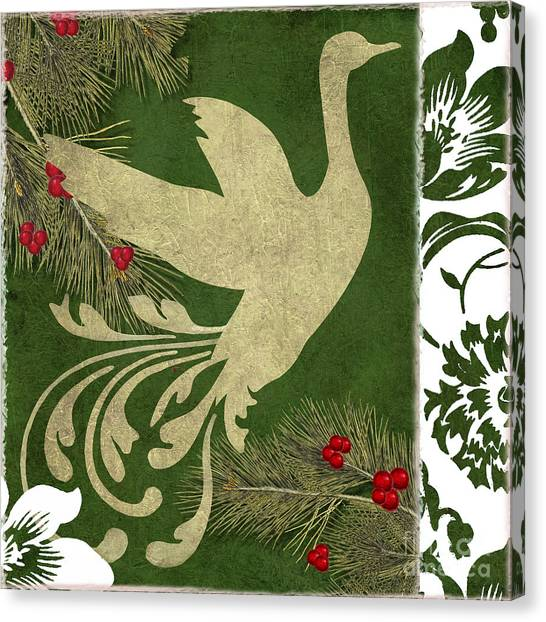 Mistletoe Canvas Print - Forest Holiday Christmas Goose by Mindy Sommers