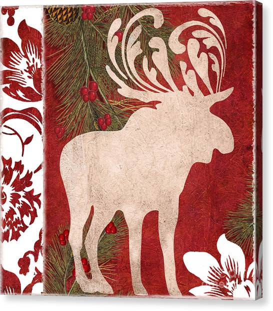 Mistletoe Canvas Print - Forest Holiday Christmas Moose by Mindy Sommers