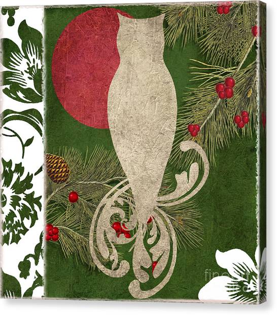 Owls Canvas Print - Forest Holiday Christmas Owl by Mindy Sommers