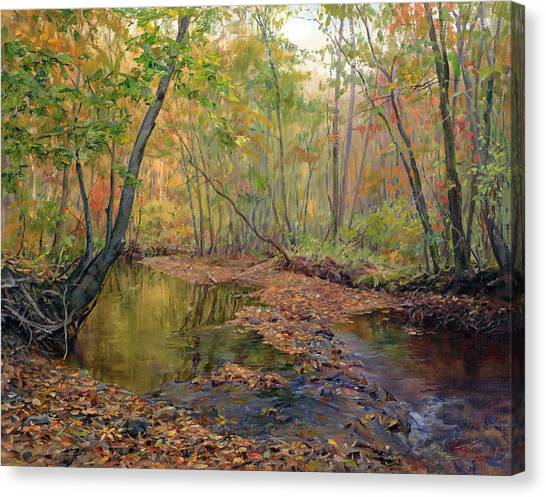 Forest River In Early Fall Canvas Print