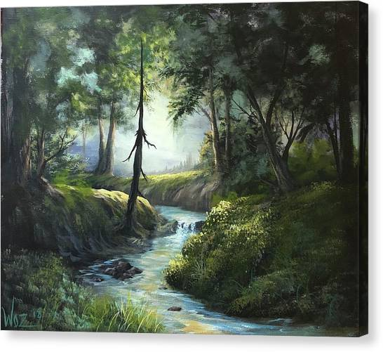 Forest River  Canvas Print by Paintings by Justin Wozniak
