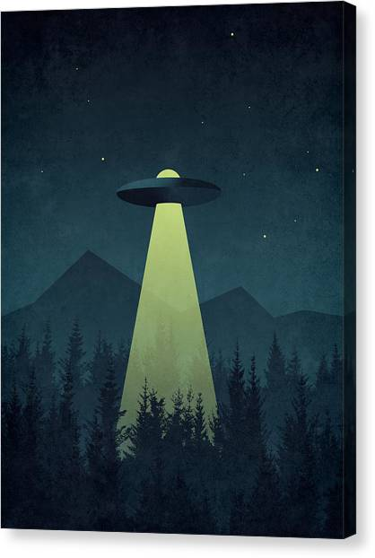 Aliens Canvas Print - Forest Ufo by Ivan Krpan