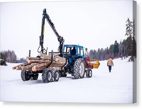 Jibbing Canvas Print - Forestry by Torbjorn Swenelius