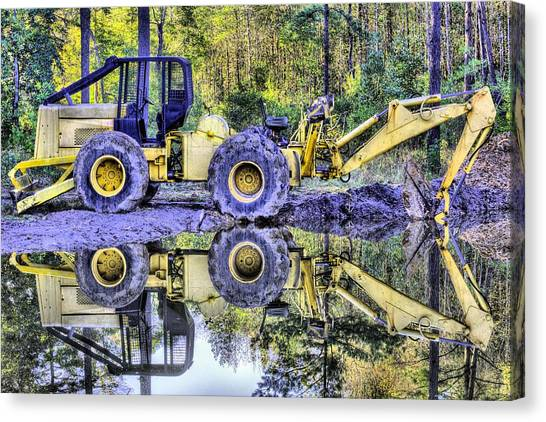 Backhoes Canvas Print - Forestry Work by JC Findley