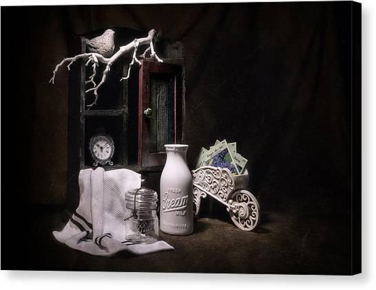 Shelves Canvas Print - Forget Me Not Still Life by Tom Mc Nemar