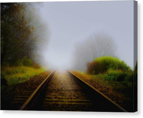 Foggy Forests Canvas Print - Forgotten Railway Track by Svetlana Sewell