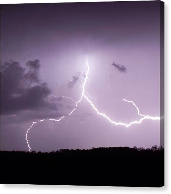 Lightning Canvas Print - Forked by Dave Edens