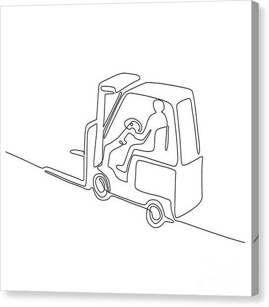 Forklifts Canvas Print - Forklift Truck Continuous Line by Aloysius Patrimonio