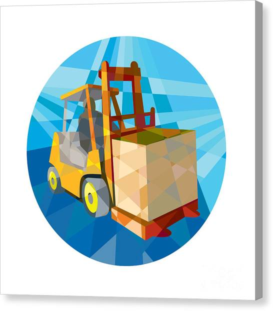 Forklifts Canvas Print - Forklift Truck Materials Box Circle Low Polygon by Aloysius Patrimonio