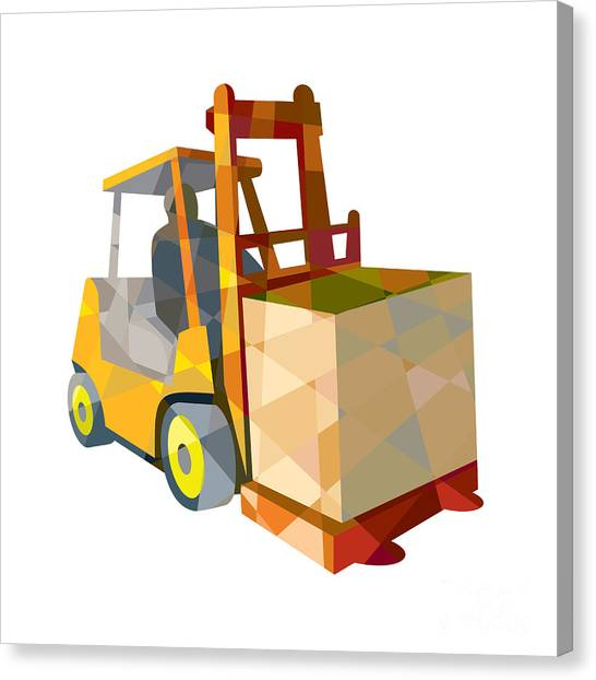 Forklifts Canvas Print - Forklift Truck Materials Handling Box Low Polygon by Aloysius Patrimonio