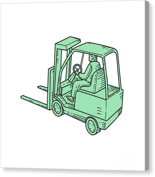Forklifts Canvas Print - Forklift Truck Operator Mono Line by Aloysius Patrimonio