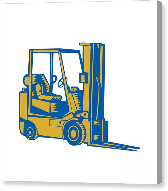 Forklifts Canvas Print - Forklift Truck Side Woodcut by Aloysius Patrimonio