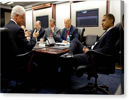 Bswh052011 Canvas Print - Former President Clinton Briefs by Everett
