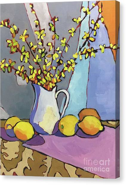 Forsythia And Lemons Canvas Print by Catherine Martzloff