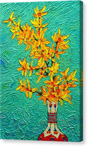 Forsythia Vibration Modern Impressionist Flower Art Palette Knife Oil Painting By Ana Maria Edulescu Canvas Print