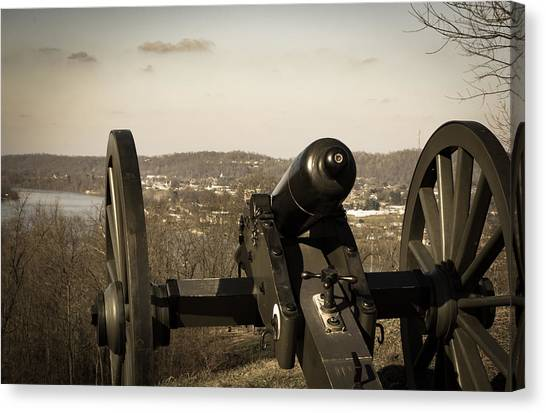 Ohio Valley Canvas Print - Fort Borman Hill Cannon by Edie Ann Mendenhall