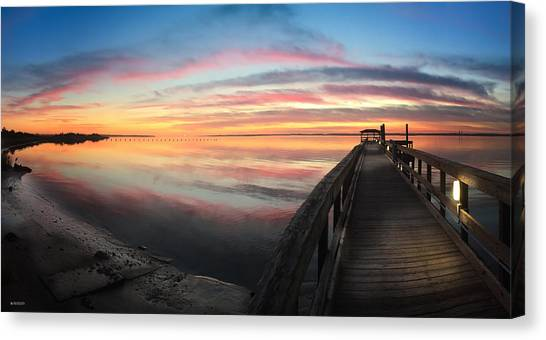 Fort Fisher Sunset Reverie With Heron Canvas Print
