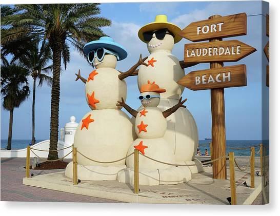 Fort Lauderdale Snowman Canvas Print