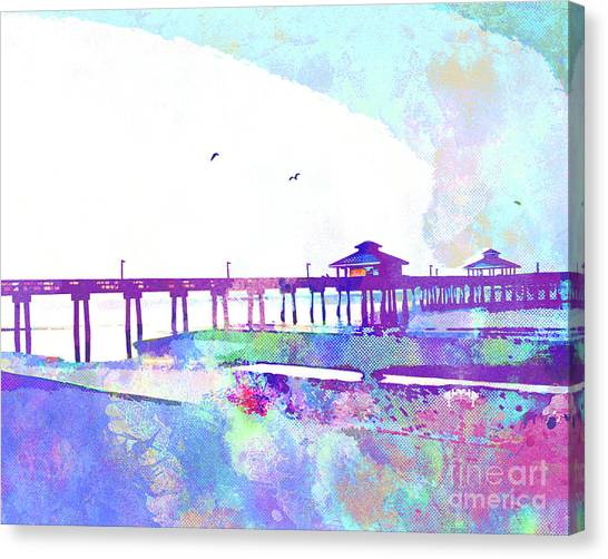 Island .oasis Canvas Print - Fort Myers Beach Pier by Chris Andruskiewicz
