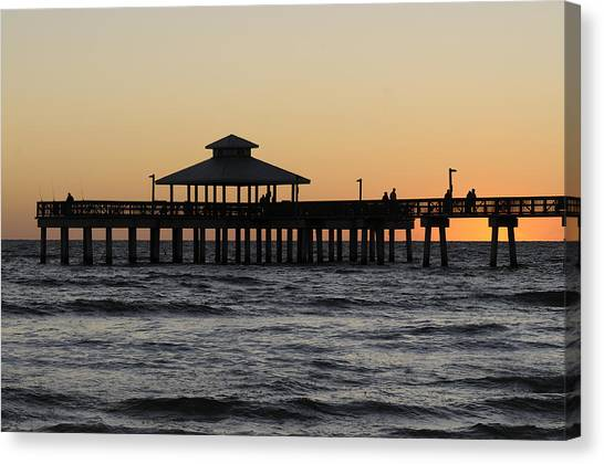 Fort Myers Beach Pier Sunset Canvas Print