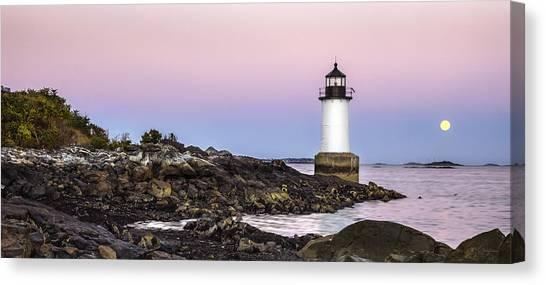 Fort Pickering Lighthouse, Harvest Supermoon, Salem, Ma Canvas Print